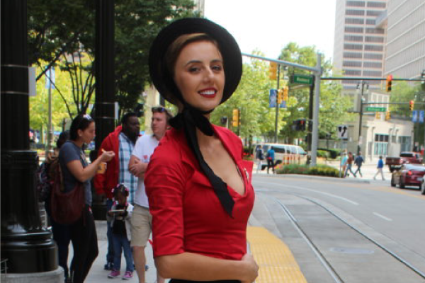 Senela in Black and Red Pin-up Girl fashion