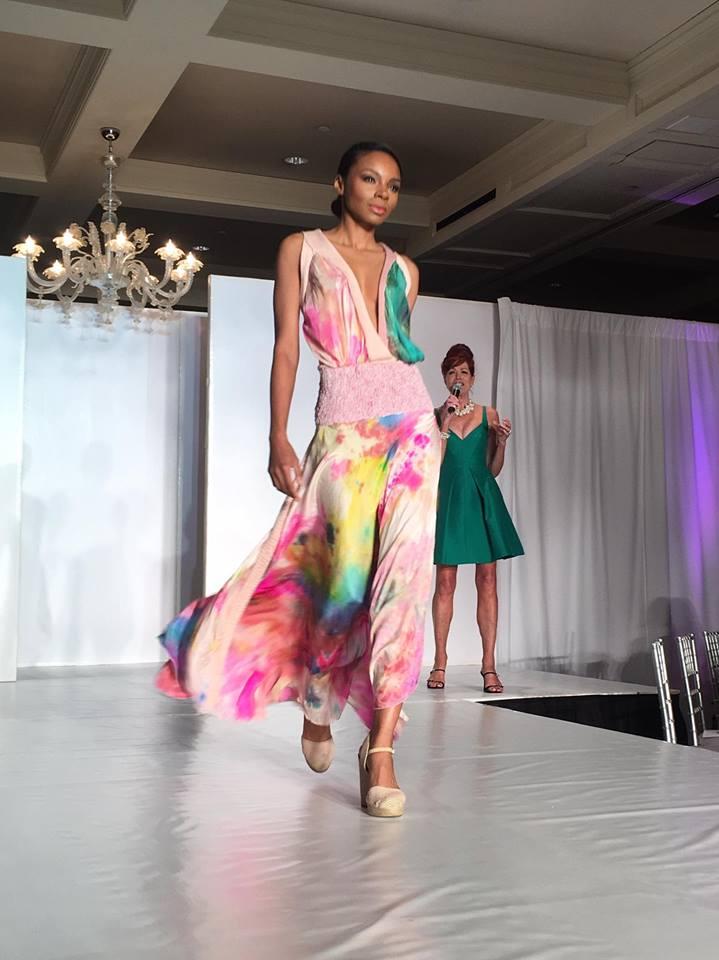 Women Helping Women Cynthia LaMaide Pink Green Dress