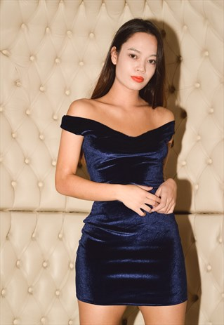 Navy velvet off the shoulder dress from New Retro UK