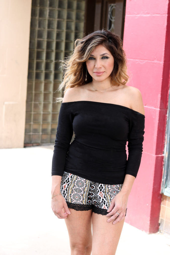 Printed shorts and off the shoulder top