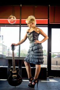 Jana Coumoundouros Ruffled Leather Dress