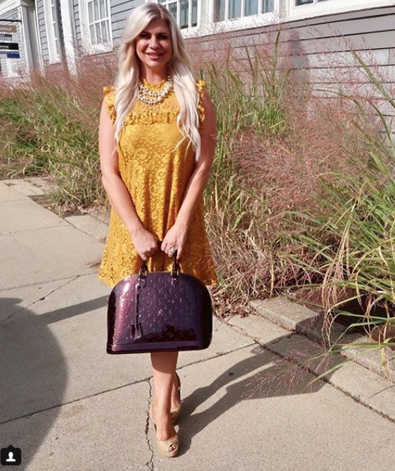 Shannon Lazovski in Gold Dress Instagram