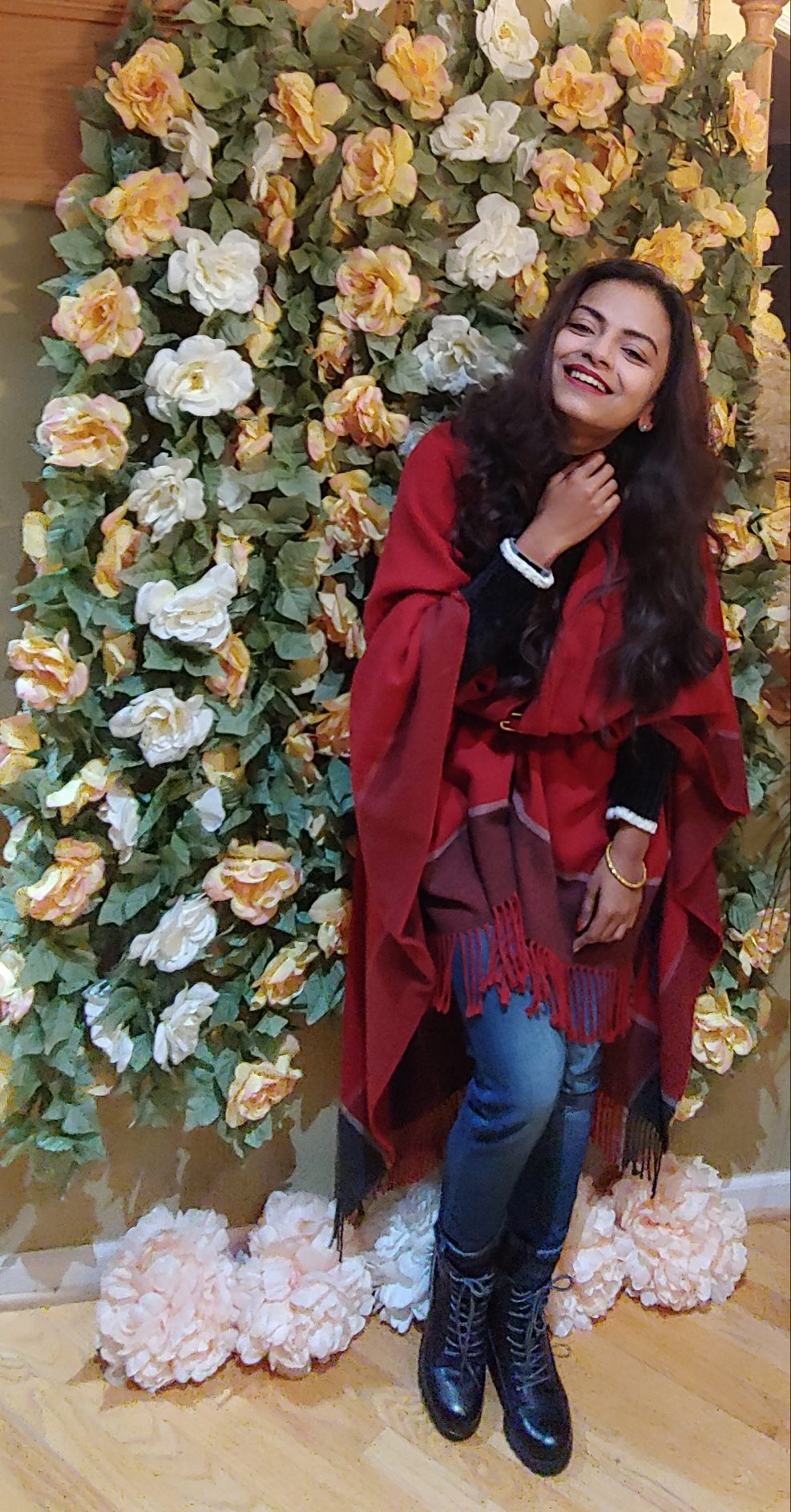 Bidisha Sinha red shawl smile