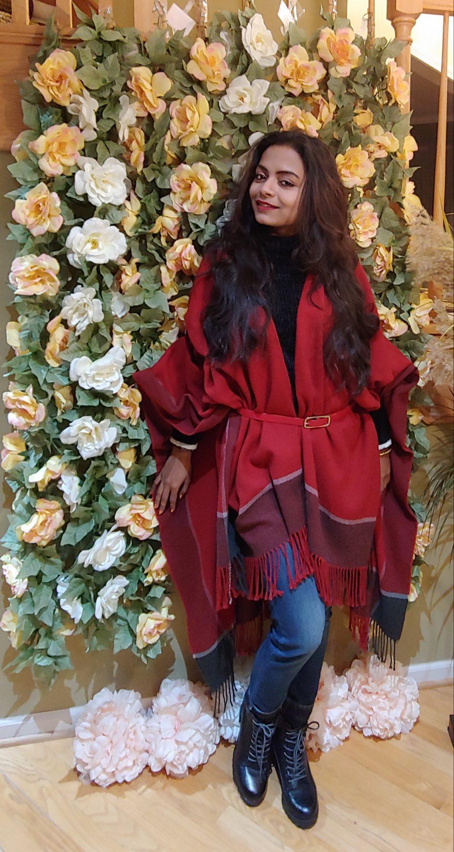 Bidisha Sinha red shawl