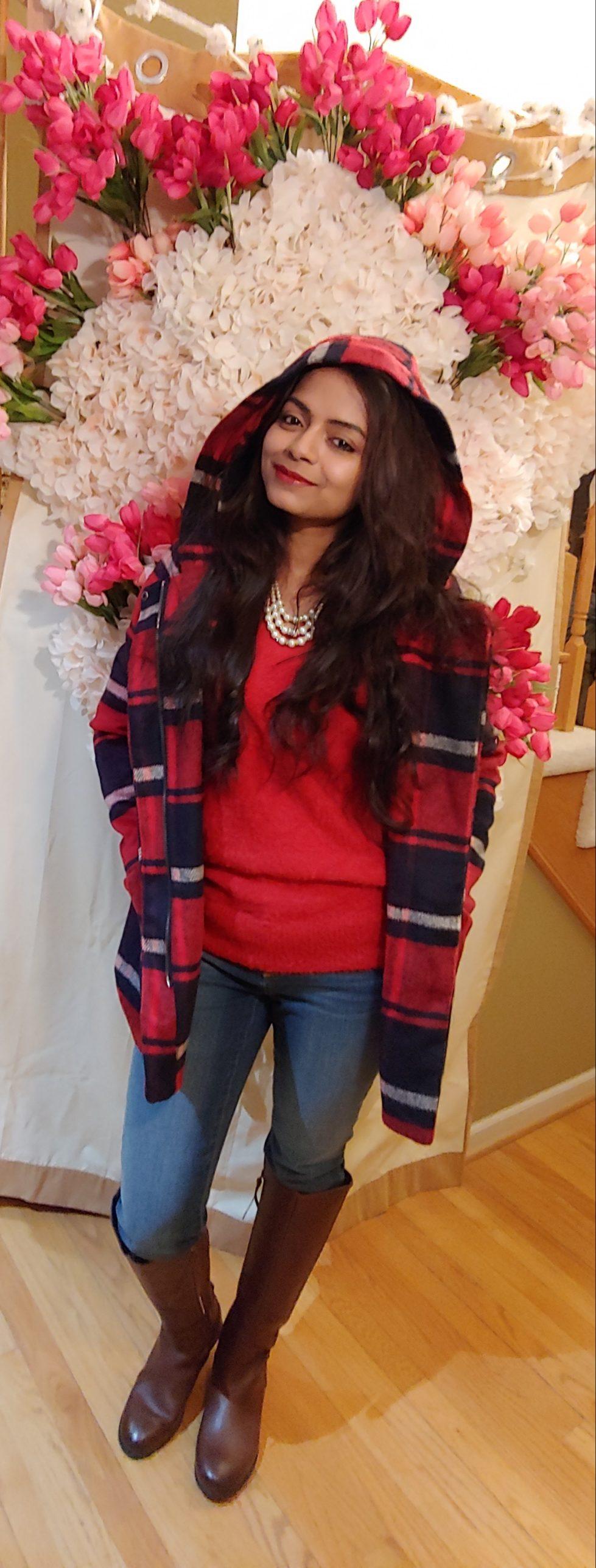 Bidisha Sinha red hooded flannel